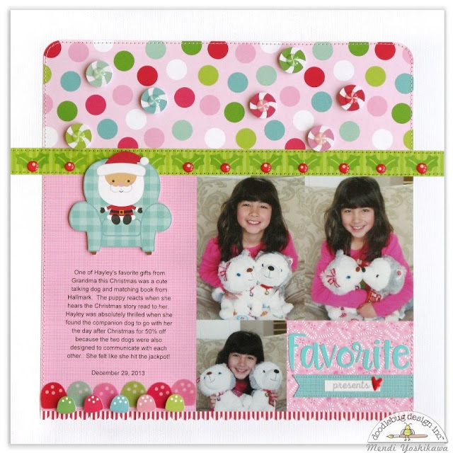 Doodlebug Design Milk & Cookies Favorite Christmas Presents Scrapbook Layout by Mendi Yoshikawa