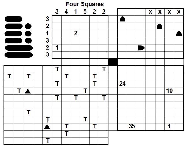 Four Squares Logic Puzzles