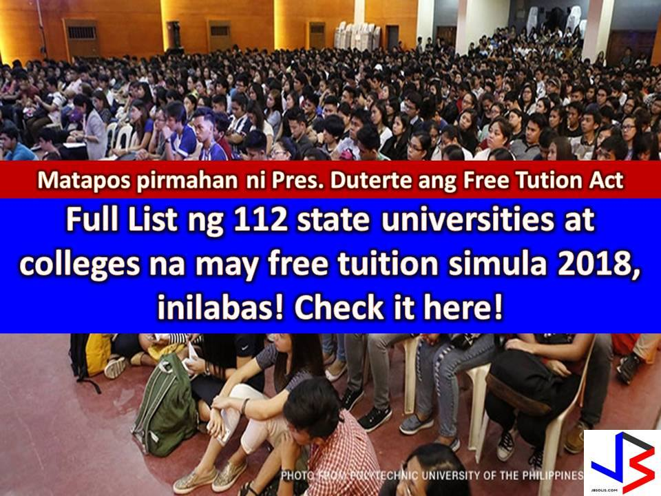 Free tuition in state colleges and universities across the country is now a law.   This is after President Rodrigo Duterte signed the Universal Access to Quality Tertiary Education Act granting free tuition in SUCs.  It means millions of students will get free education in SUCs and vocational schools nationwide starting next year.