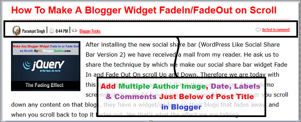 Below Post add Multi Author Image, Below Post Add Date, Time, Comments, and Author Image