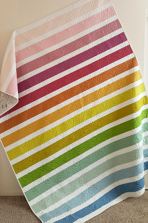 Muted Rainbow Stripe Quilt Free Tutorial Designed by Allison of Woodberry Way