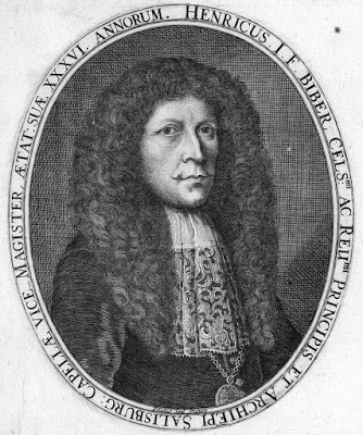 A portrait of the Heinrich Biber, engraved by Paulus Seel for Biber's Sonatae Violino solo (1681)