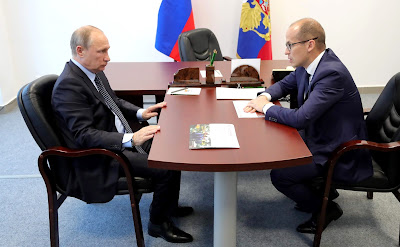 Vladimir Putin with acting Head of the Republic of Udmurtia Alexander Brechalov.