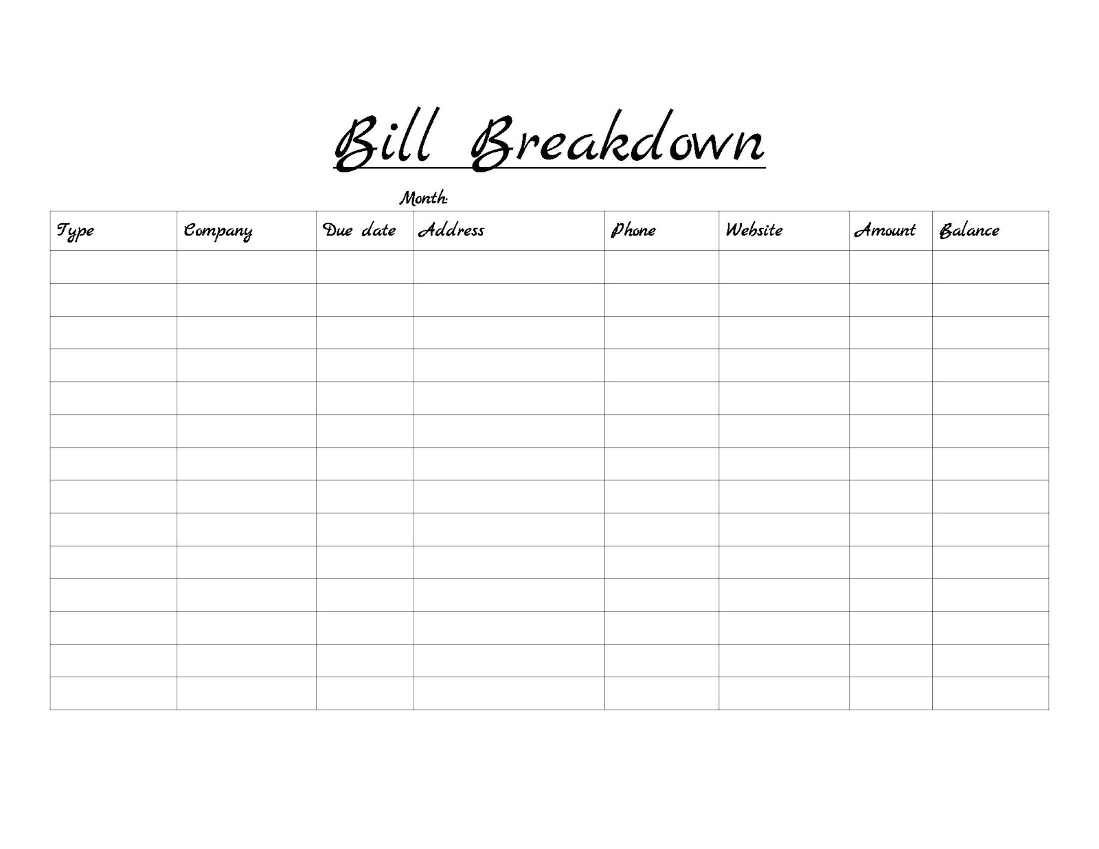 Monthly Bill Checklist Template