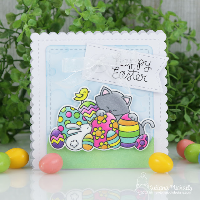 Easter Treat Bag by Juliana Michaels featuring Newton's Nook Designs Frames & Flags Die Set and Newton's Easter Basket Stamp Set