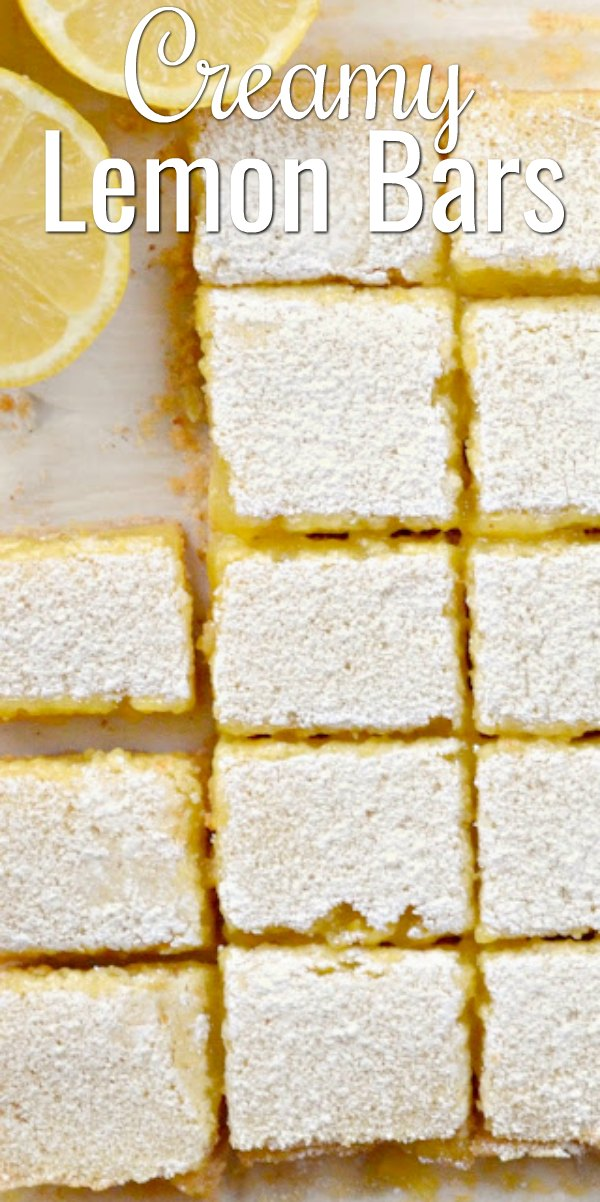 Easy to make Lemon Bars with a Shortbread Almond Cookie Crust are a family favorite dessert recipe from Serena Bakes Simply From Scratch.