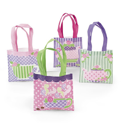 "12 tea Party tote bags. Fill with candy and give as gift with a note that says, ""We think you are preTEA awesome!"""