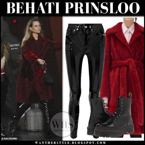Behati Prinsloo in red teddy celine coat and black rag and bone vinyl pants winter street style january 16