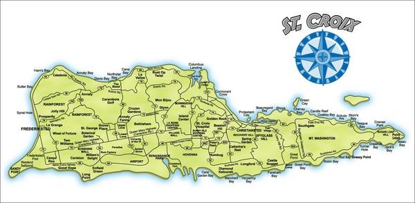 Carte de Sainte Croix îles vierges américaines