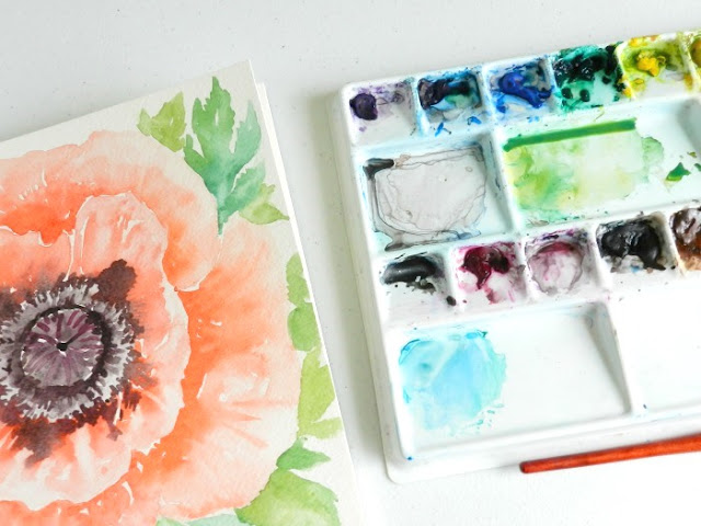 Coral Oriental Poppy Bloom Watercolor Painting