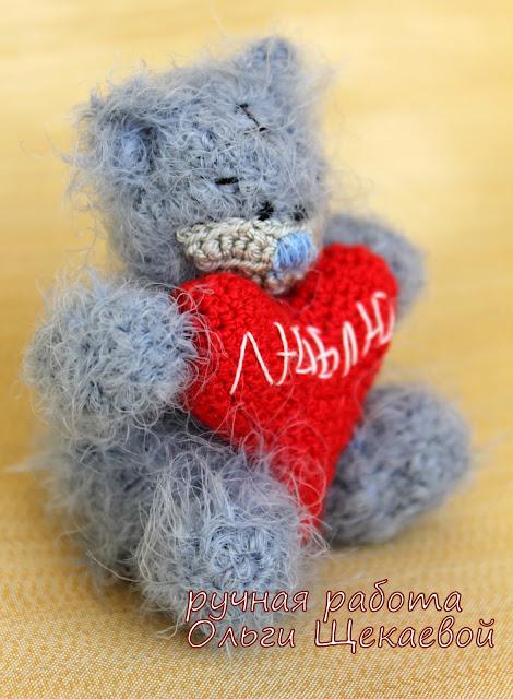 медвежонок, мишутка, крючком, амигуруми, сердечко