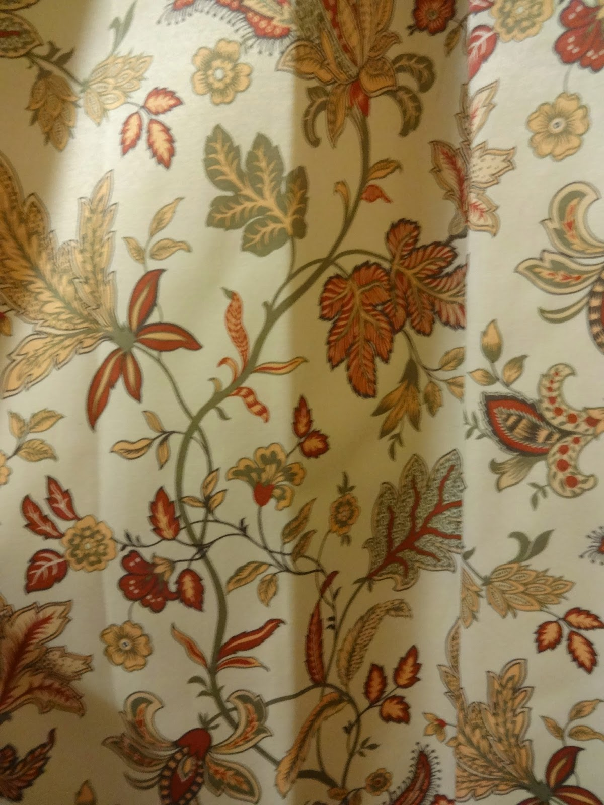 cream and red floral vintage curtain fabric