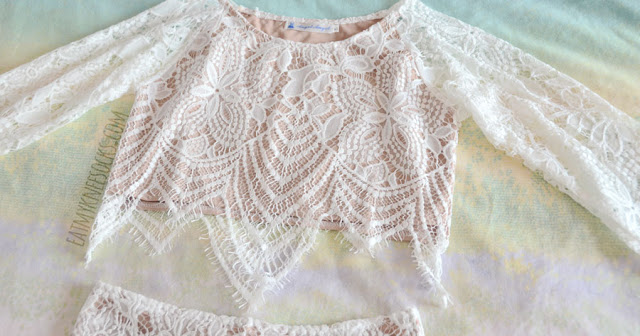 b6d2839675e Close-up of SheIn's crocheted long-sleeve crop top, a dupe of the. Matching crop  top and skirt sets ...
