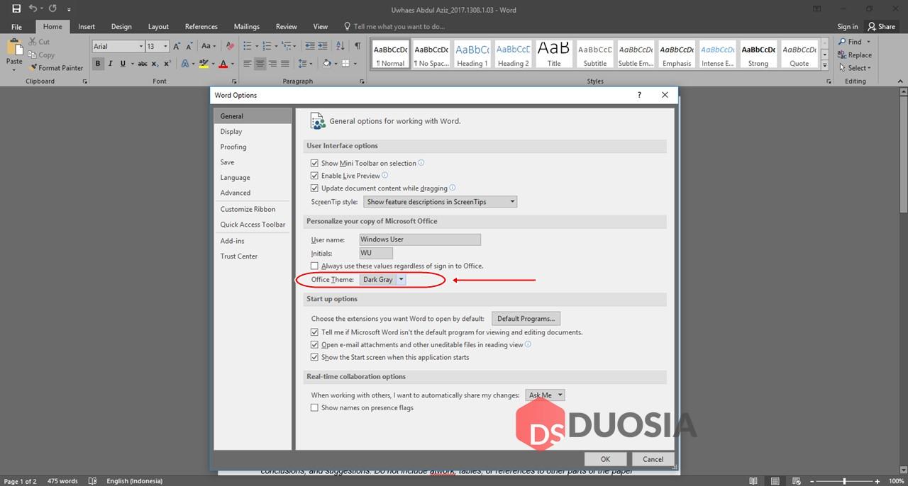 Dark Mode Microsoft Office