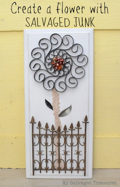 flower wall art created with salvaged bits and pieces
