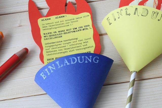 DIY Einladung Deko Feuerwehr Kindergeburtstag Jules kleines Freudenhaus