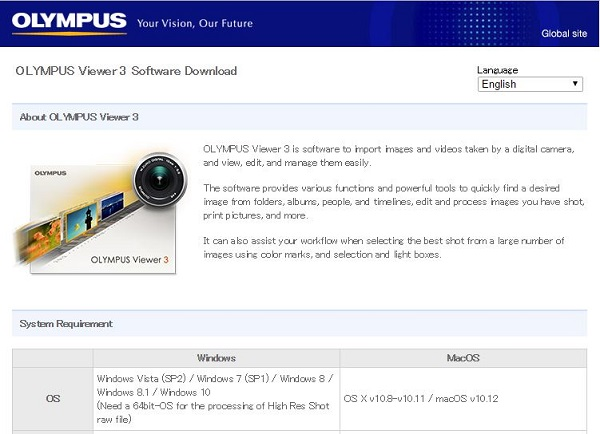 Olympus Viewer 3 Download page