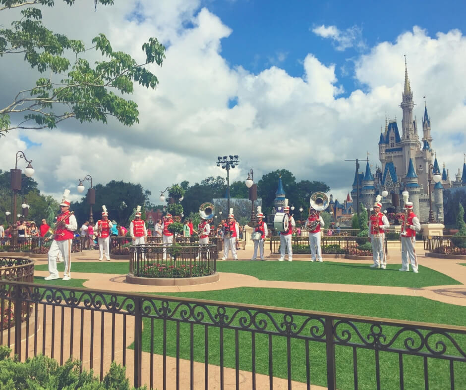 Top 7 Things You Should Do At Magic Kingdom, Walt Disney World | See the Main Street Philharmonic perform in front of Cinderella's Castle.