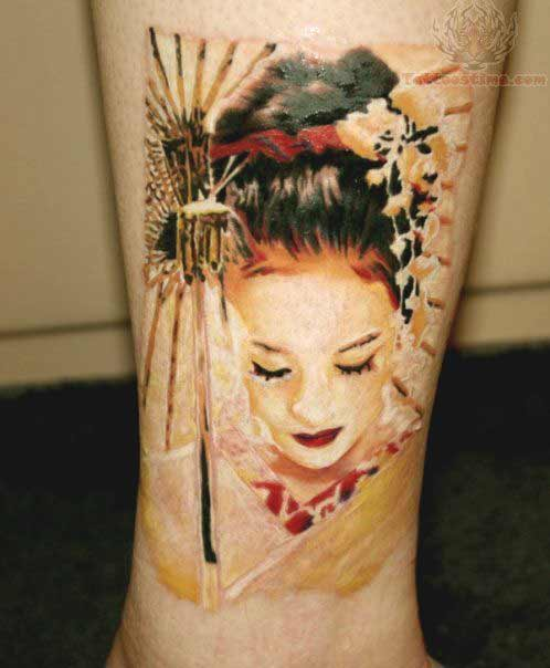 Japanese geisha girl tattoo designs on leg ideas for men and women