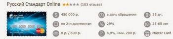 Онлайн кредитка Русский Стандарт