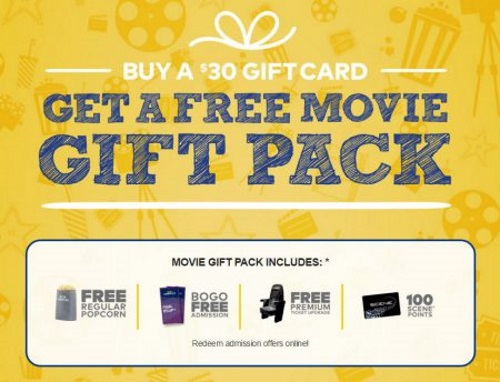 Cineplex Odeon Buy $30 Gift Card & Get Free Movie Gift Pack