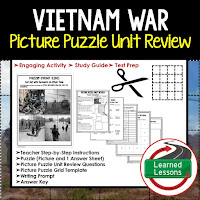 American History Picture Puzzles are great for TEST PREP, UNIT REVIEWS, TEST REVIEWS, and STUDY GUIDES, Vietnam War