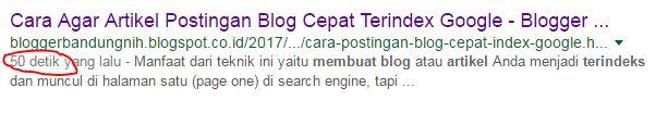 Bukti Artikel Postingan Blog Cepat Terindex Google