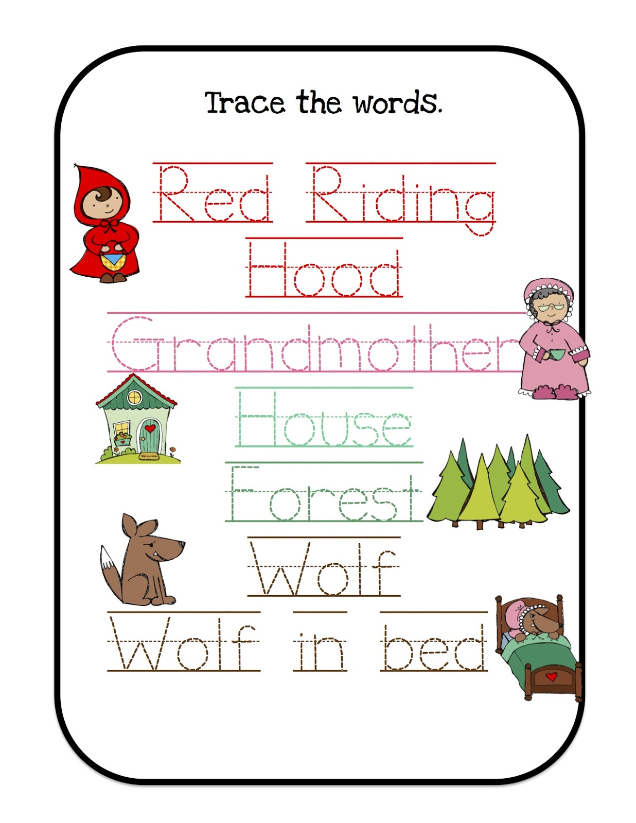 Preschool Printables Red Riding Hood