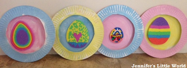 Paper plate and Hama bead Easter decorations craft for children
