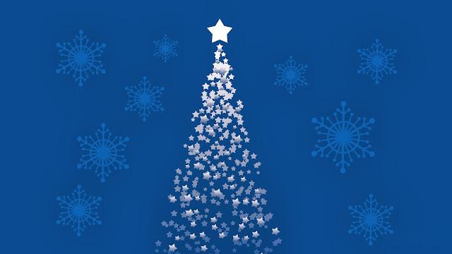 Blauwe achtergrond met kerstboom van sterren