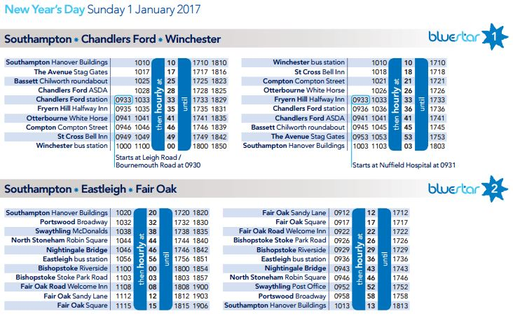 Southampton Bus Update Buses On New Year S Day 2017