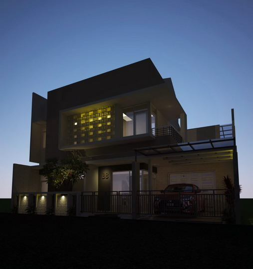contoh rumah minimalis modern dengan tata lampu dan cahaya yang baik