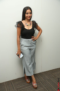 Swetha Basu in a Black Sleeveless Top Long Skirt at Mixture Potlam Movie Audio Launch 084.JPG