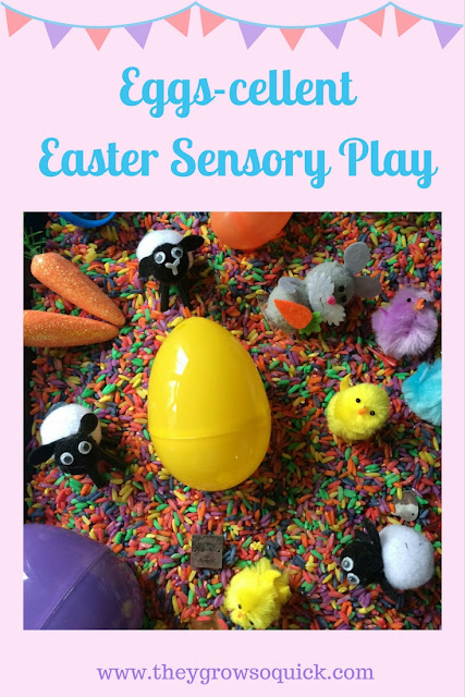 Easter sensory play, how to make rainbow rice