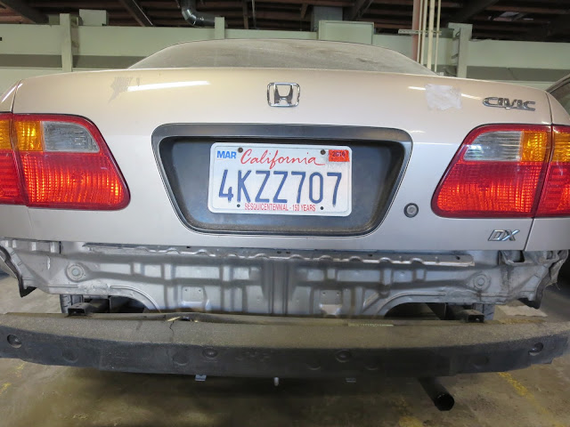 When we take the bumper cover off, you can see more significant damage.