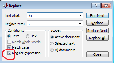 Viki's weblogs: How to replace line break with comma in text pad