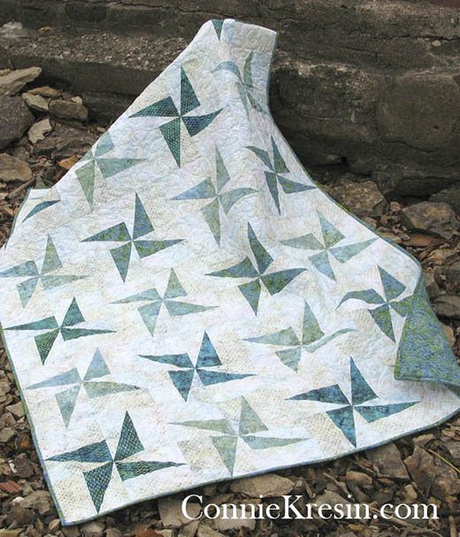 Twirling Windmills Quilt Free Tutorial Designed By Connie Kresin Campbell of Freemotion by the River