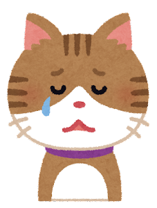 いろいろな表情の猫のイラスト「泣き顔」