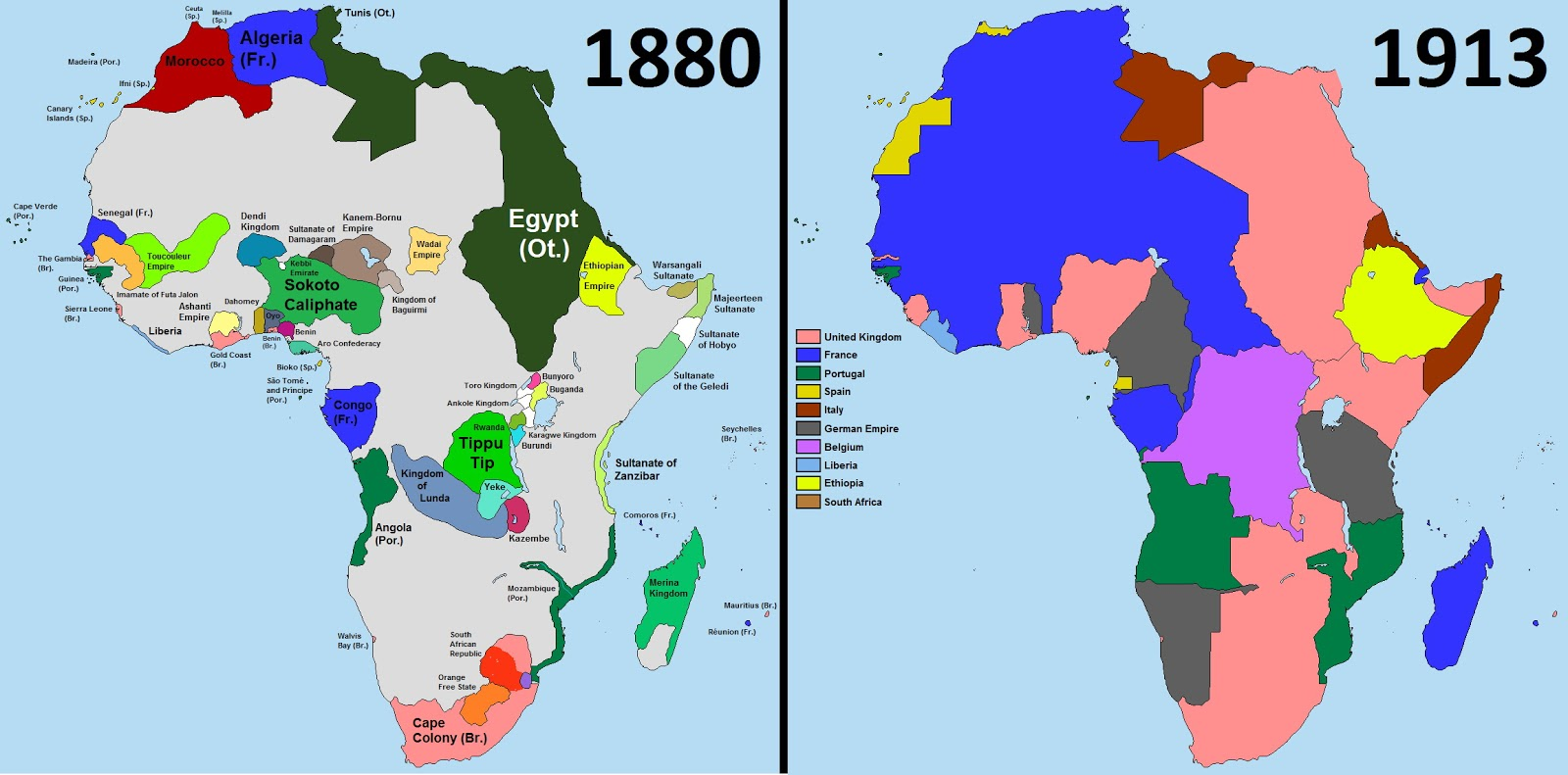 Africa in 1880 and in 1913
