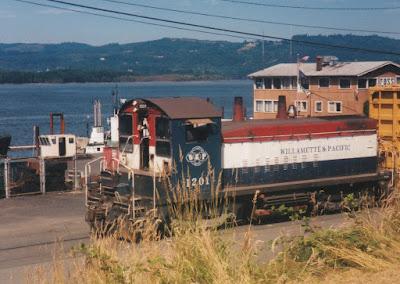 Willamette & Pacific SW1200R #1201 in Rainier, Oregon, on July 14, 1997