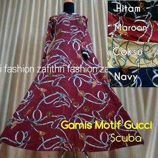 gamis umbrella motif gucci bahan scuba