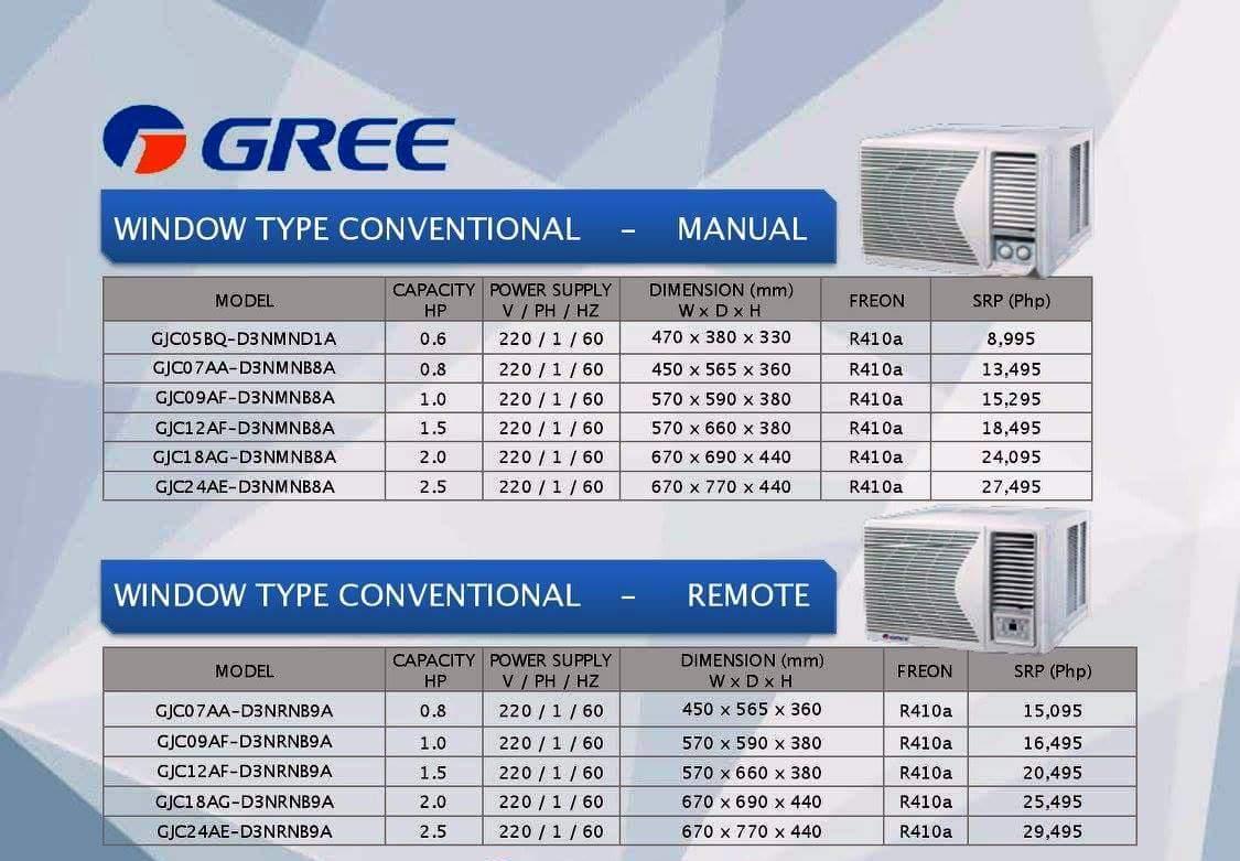 Gree aircon price list philippines