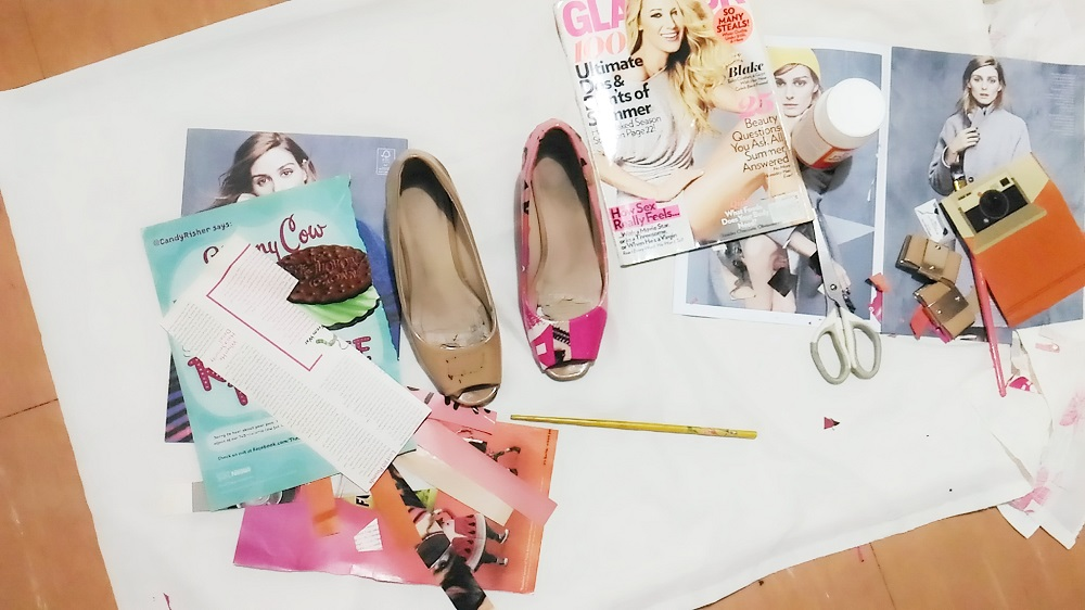 DIY decoupage shoes, upcycling shoes, how to recycle your shoes
