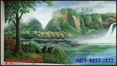 Mural lukis dinding 3 dimensi tema gambar pemandangan alam