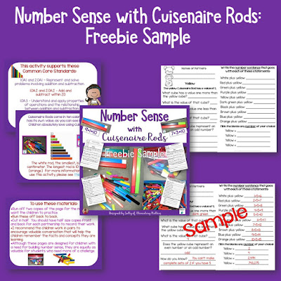 Number Sense with Cuisenaire Rods: this post discusses the importance of Number Sense, and gives some suggestions on developing number sense with the use of Cuisenaire Rods. (Includes a freebie!)
