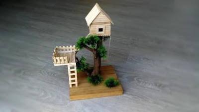 Kerajinan Rumah Pohon dari Stik Es Krim