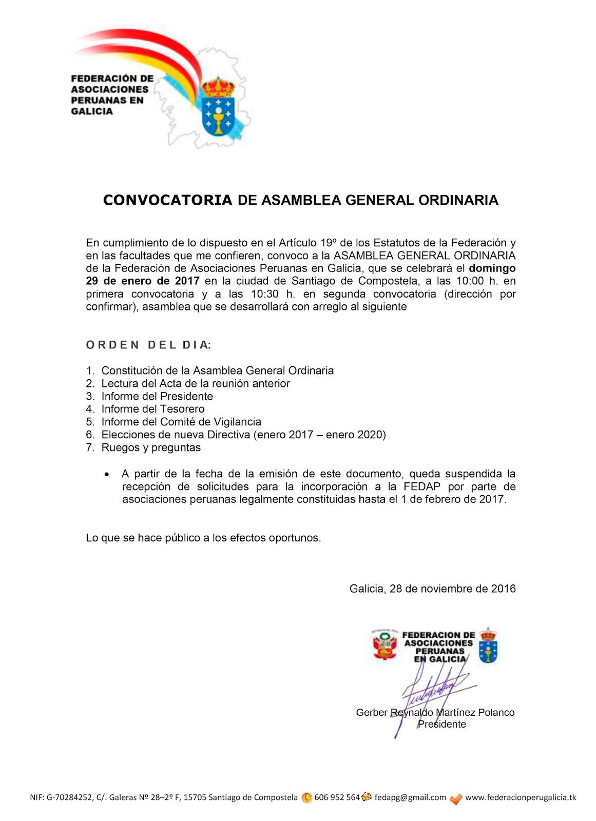 Federación de Asociaciones Peruanas en Galicia: 2016