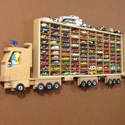 unique wooden truck wall shelf ideas