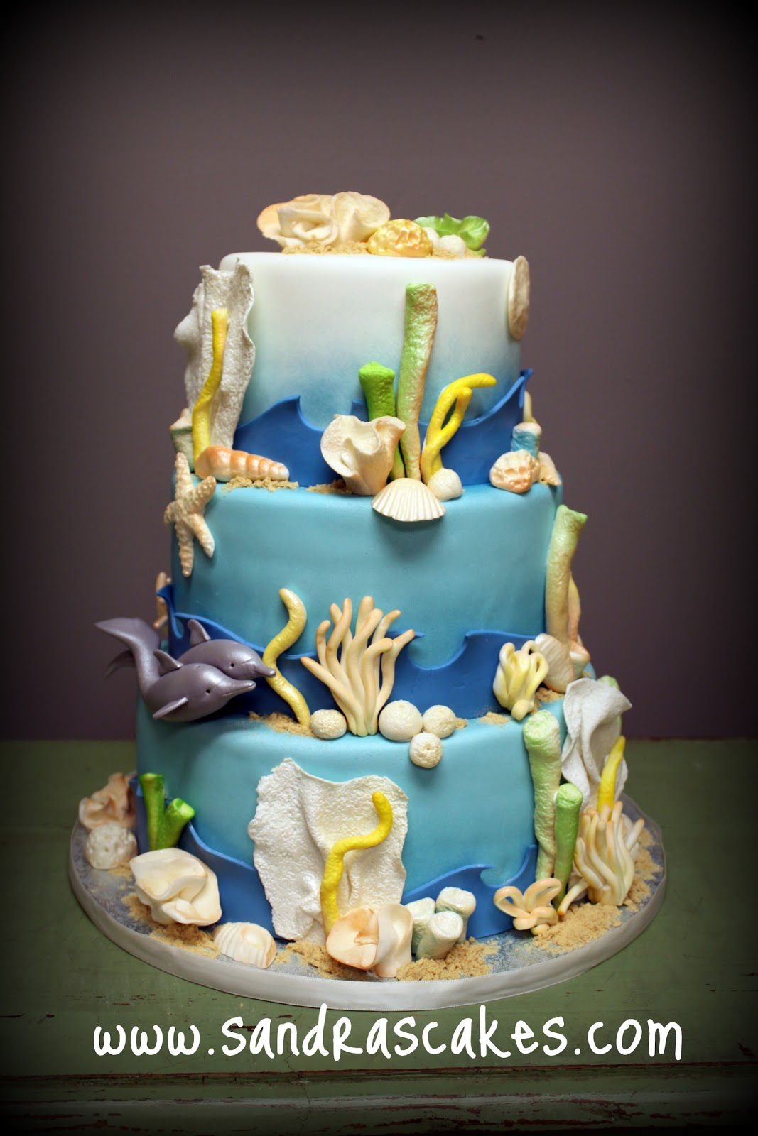 Ocean Themed Wedding Cake
