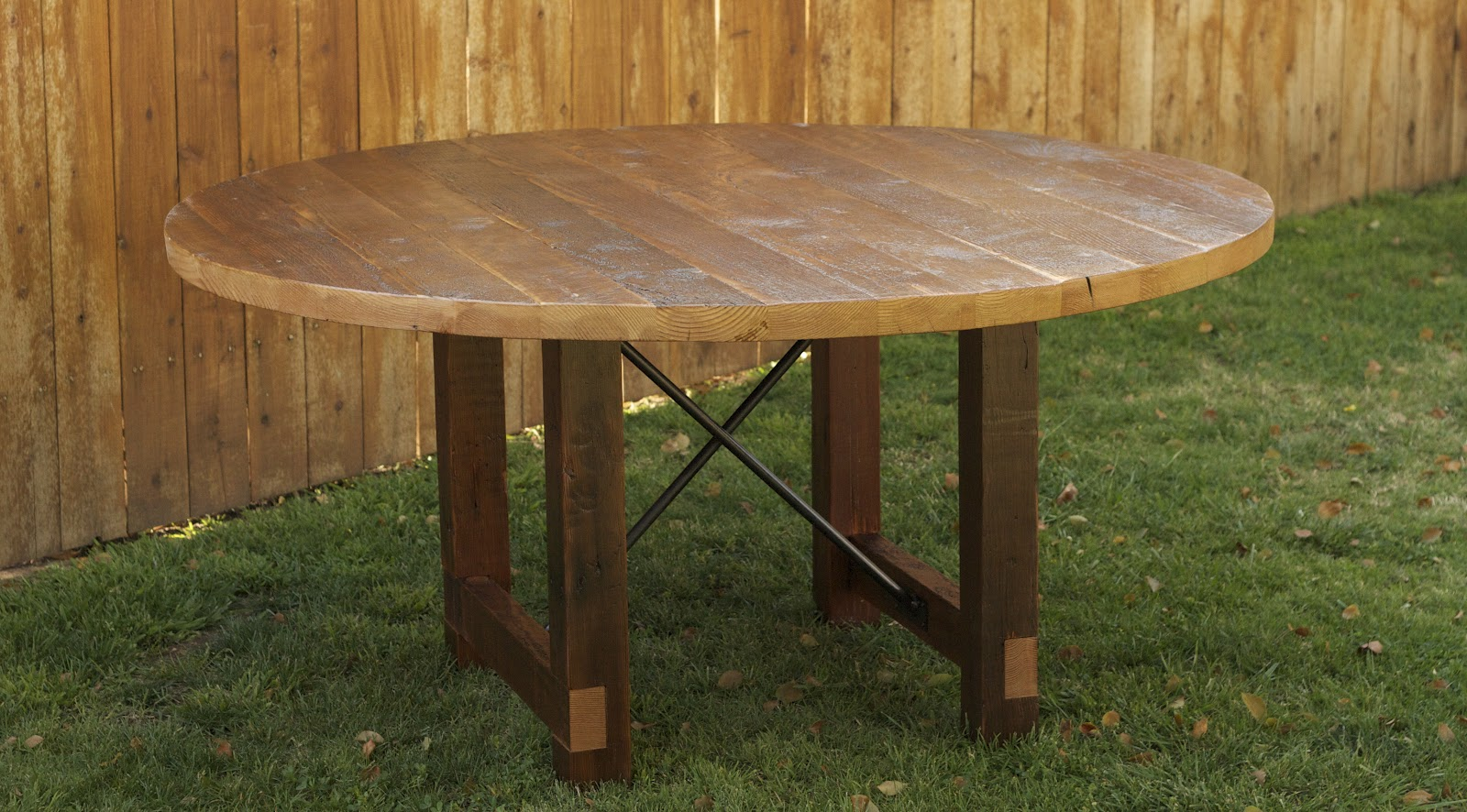 arbor exchange reclaimed wood furniture round dining table with metal x. Black Bedroom Furniture Sets. Home Design Ideas